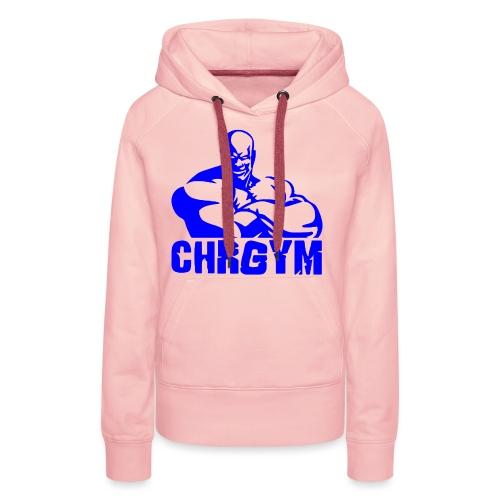 CHRGYM AZUL - Sudadera con capucha premium para mujer