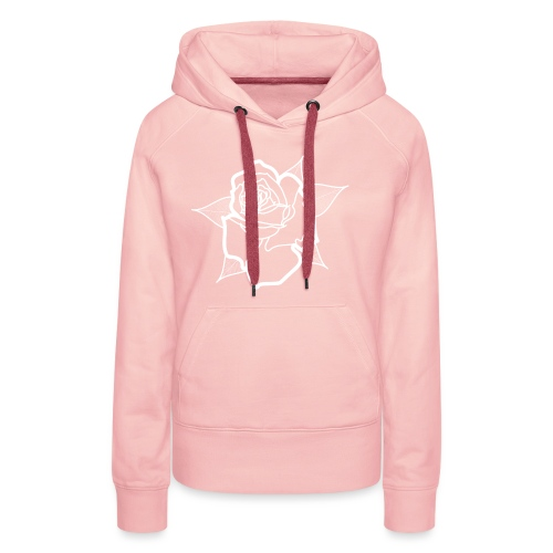 Big White Rose - Sweat-shirt à capuche Premium pour femmes