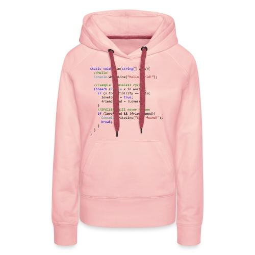 Love seen by a C# programmer - Felpa con cappuccio premium da donna
