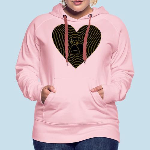 Katzen Herz Spirale 2 Färbig - Frauen Premium Hoodie