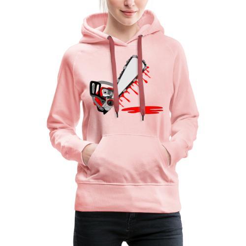 T shirt humeur tronçonneuse en sang votre texte FC - Sweat-shirt à capuche Premium pour femmes