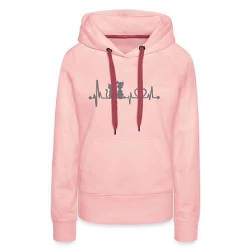 Vorschau: dog cat heartbeat - Frauen Premium Hoodie