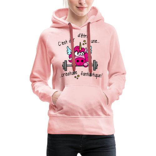 Licorne Muscu Créature Fantastique - Sweat-shirt à capuche Premium pour femmes