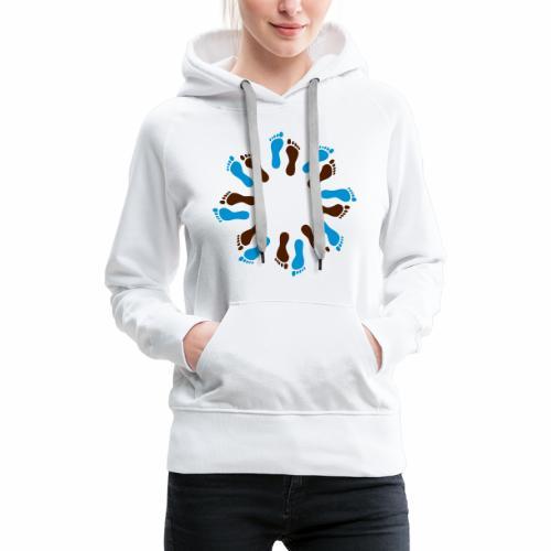 Barfuß-Kreis blau-braun - Frauen Premium Hoodie