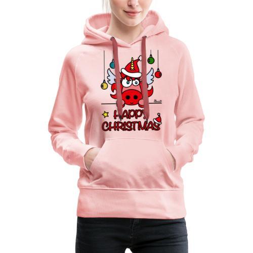 Unicorn Happy Christmas, Licorne Noël - Sweat-shirt à capuche Premium pour femmes