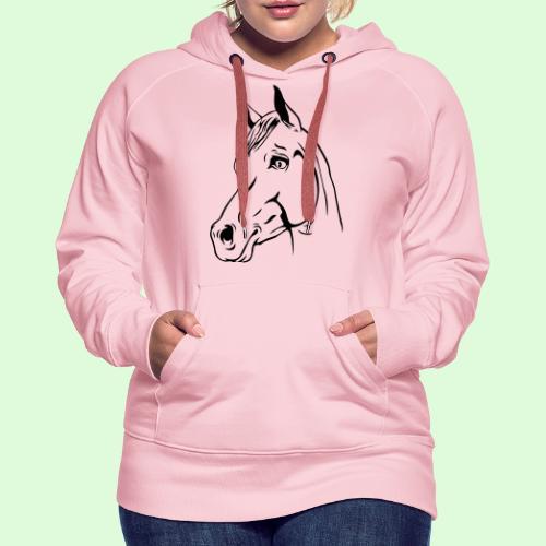 Tête de cheval - Sweat-shirt à capuche Premium pour femmes