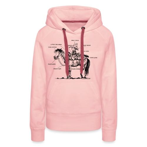 Thelwell Cartoon Bescheribung Westernpferd - Frauen Premium Hoodie