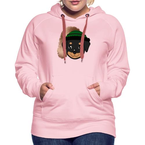 Baby-Rottweiler mit grüner Wadelkappe - Frauen Premium Hoodie