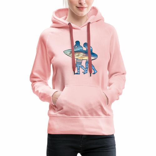 Les surfeurs ! - Sweat-shirt à capuche Premium pour femmes
