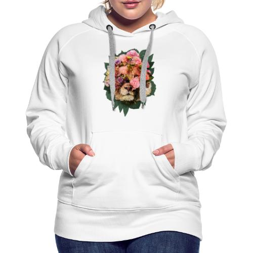 Ritratto leone fiori in doppia esposizione - Felpa con cappuccio premium da donna