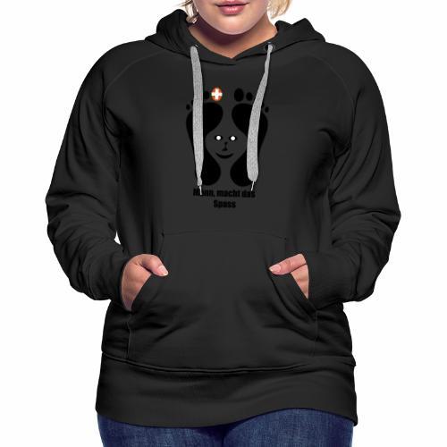 Barfuss-Logo das macht Spass mit Gesicht - Frauen Premium Hoodie