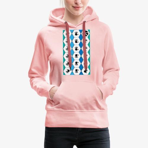 |K·CLOTHES| HEXAGON ESSENCE BLUES & WHITE - Sudadera con capucha premium para mujer