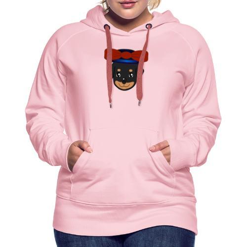 Baby-Rottweiler mit roter Hornkappe - Frauen Premium Hoodie