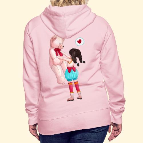 Fille au Nounours géant - Sweat-shirt à capuche Premium pour femmes