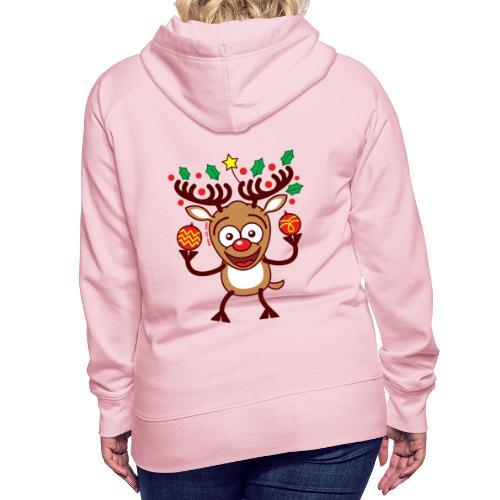Cool Reindeer Decorating for Christmas - Women's Premium Hoodie