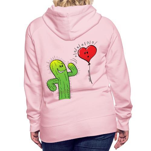 Cactus Flirting with a Heart Balloon - Women's Premium Hoodie