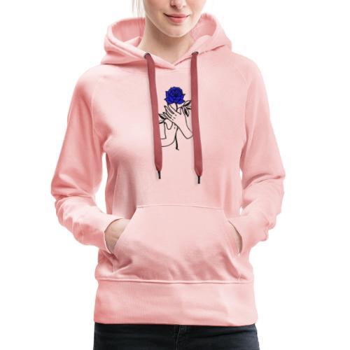 Fiore blu - Felpa con cappuccio premium da donna