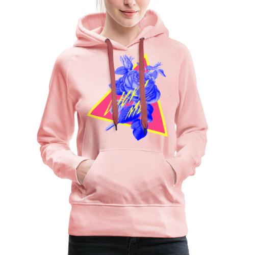 flores neon - Sudadera con capucha premium para mujer