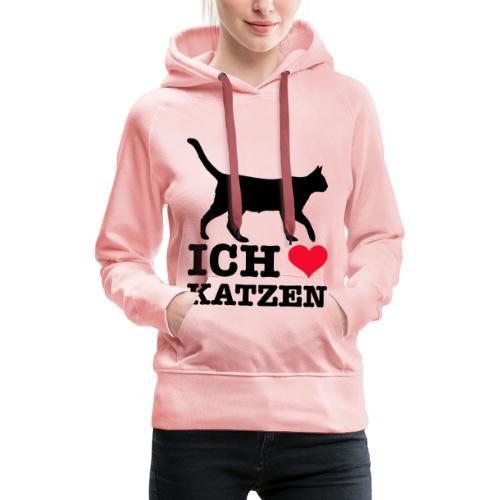Ich liebe Katzen mit Katzen-Silhouette - Frauen Premium Hoodie