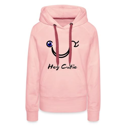 Hey Cutie Blue Eye Wink - Women's Premium Hoodie