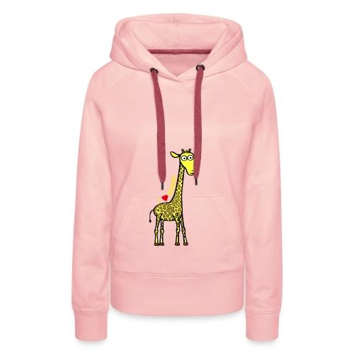 Kocham żyrafę - Żółty napis - Bluza damska Premium z kapturem