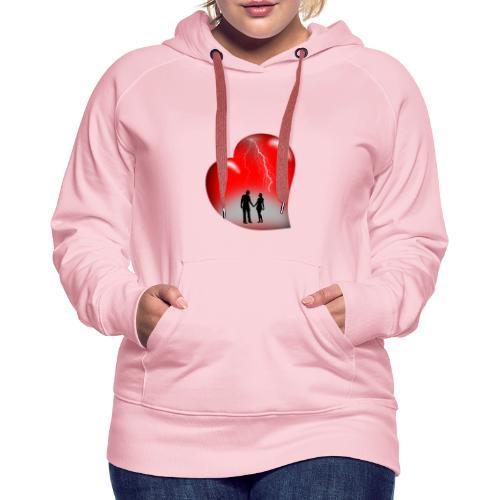 t shirt coeur rouge coup de foudre eclairs - Sweat-shirt à capuche Premium pour femmes