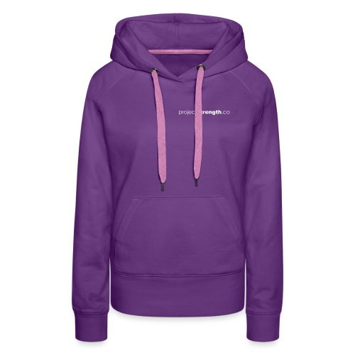 projectstrength.co - plain logo - white - Women's Premium Hoodie