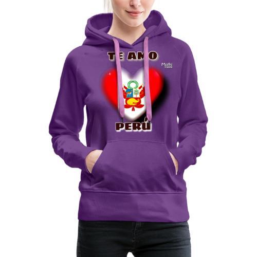 Te Amo Peru Corazon - Sudadera con capucha premium para mujer