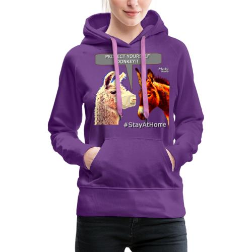Protect Yourself Donkey - Coronavirus - Sweat-shirt à capuche Premium pour femmes