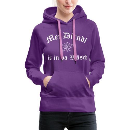 Mei Dirndl is in da Wäsch mit Edelweiß - Frauen Premium Hoodie