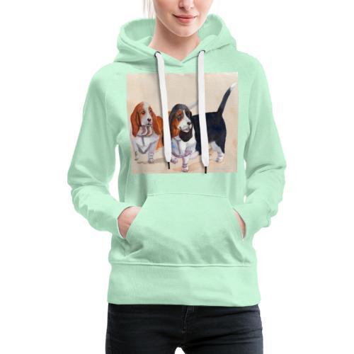 Basset hound_double-trot - Dame Premium hættetrøje