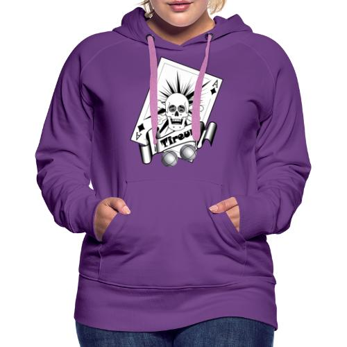 t shirt petanque tireur crane rieur carreau boules - Sweat-shirt à capuche Premium pour femmes