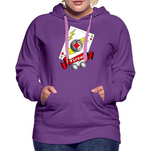 t shirt petanque tireur as du carreau boules - Sweat-shirt à capuche Premium pour femmes