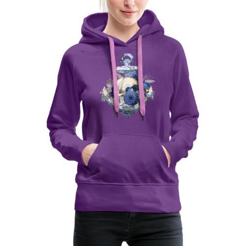Totenkopf Blumenanker - Frauen Premium Hoodie