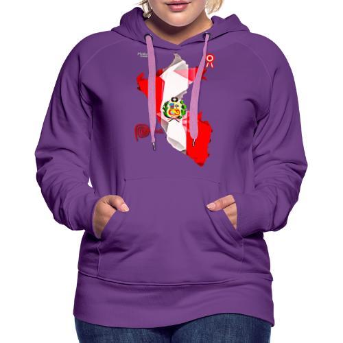 Mapa del Perú, Bandera y Escarapela - Sudadera con capucha premium para mujer