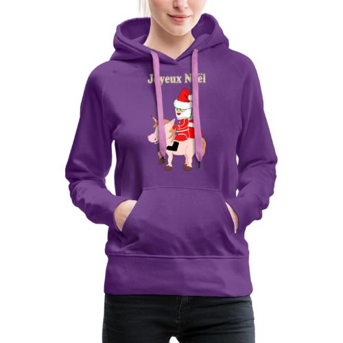 Le père Noël et la licorne - Sweat-shirt à capuche Premium pour femmes