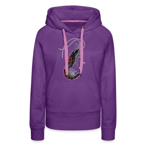 shrimp-U #splashedBlack - Felpa con cappuccio premium da donna