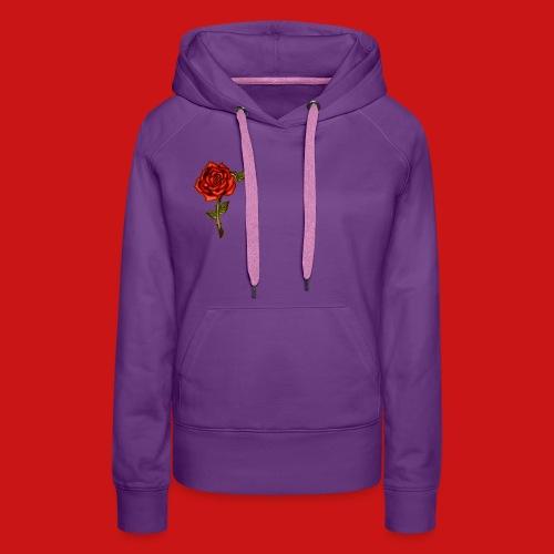 Red Rose - Felpa con cappuccio premium da donna