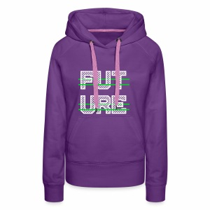 Future Clothing - Green Strips (White Text) - Women's Premium Hoodie