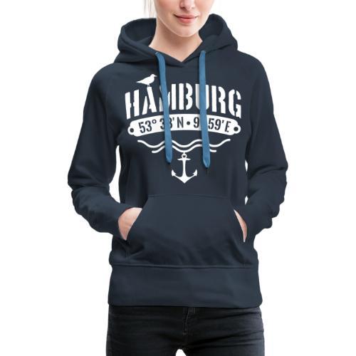 Hamburg Koordinaten Anker Möwe Längengrad - Frauen Premium Hoodie
