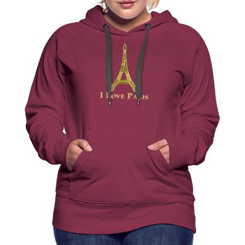 Design Paris I love paris - Sweat-shirt à capuche Premium pour femmes