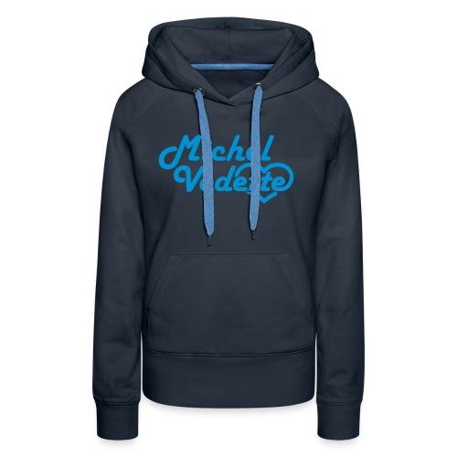 Logo Michel Vedette bleu cyan - Sweat-shirt à capuche Premium pour femmes
