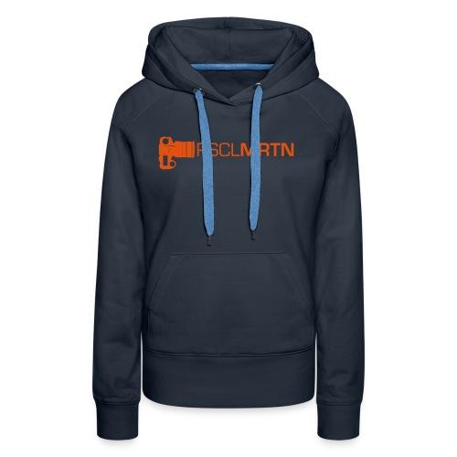 Black on Black with Orange Neck - Frauen Premium Hoodie