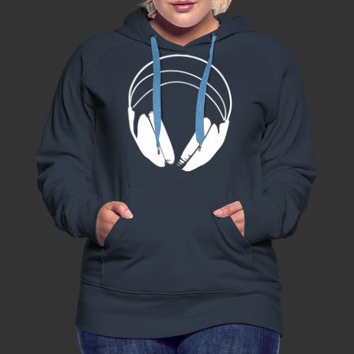 Casque blanc, logo de podradio vectorisé - Sweat-shirt à capuche Premium pour femmes
