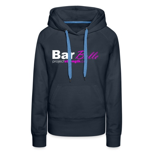 projectstrength.co - barbelle logo - white/pink - Women's Premium Hoodie