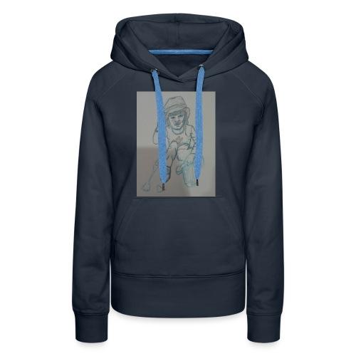 Camiseta con retrato - Sudadera con capucha premium para mujer
