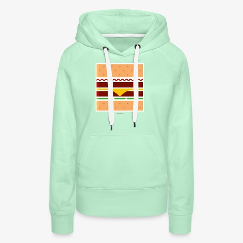 Square Burger - Felpa con cappuccio premium da donna