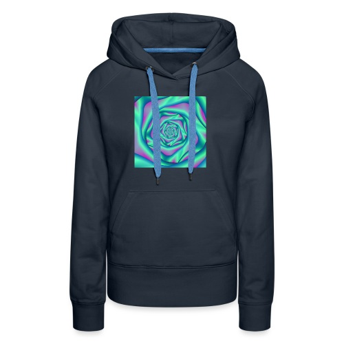 Silk Spiral Rose in Blue and Pink - Women's Premium Hoodie