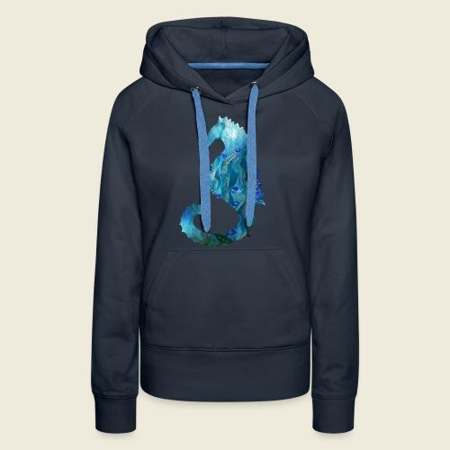 Seepferdchen blau türkis Kunst - Frauen Premium Hoodie