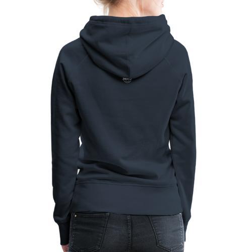 Luckimi logo white small circle on sleeve or back - Women's Premium Hoodie